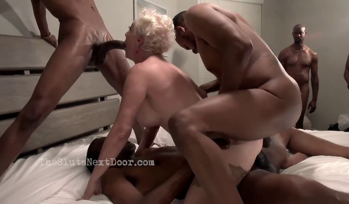 Seka Ebony Against Four Big Black Cock